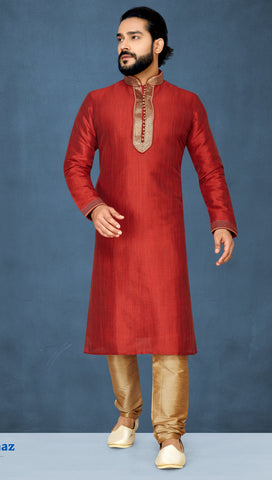 Red Color Khicha Silk Men's Readymade Kurta Pyjama - RT-819