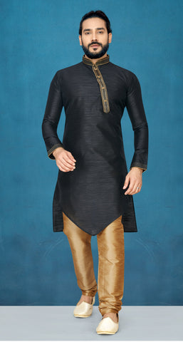 Black Color Raw Silk Men's Readymade Kurta Pyjama - RT-820