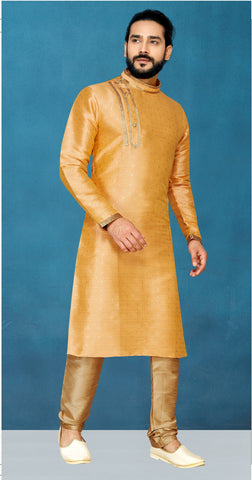 Orange Color Malbari Butti Men's Readymade Kurta Pyjama - RT-821