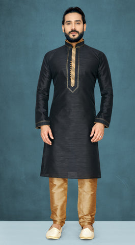 Black Color Raw Silk Men's Readymade Kurta Pyjama - RT-822