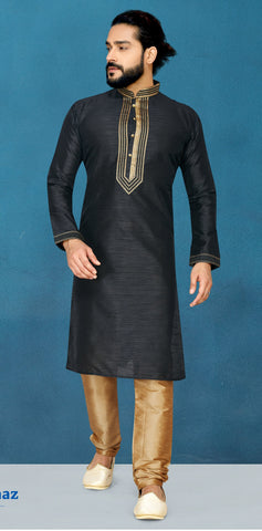 Black Color Raw Silk Men's Readymade Kurta Pyjama - RT-823