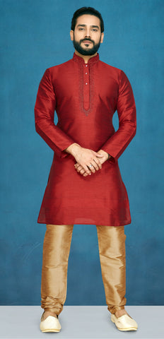 Maroon Color Raw Silk Men's Readymade Kurta Pyjama - RT-824