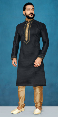 Black Color Raw Silk Men's Readymade Kurta Pyjama - RT-825