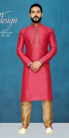 Rani Pink Color Raw Silk Men's Readymade Kurta Pyjama - RT-826