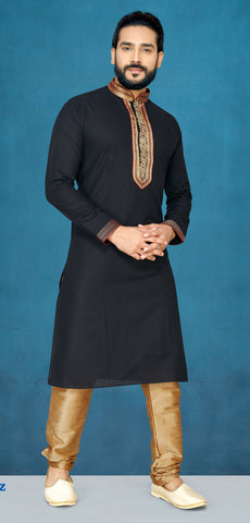 Black Color Magic Luxry Cotton Men's Readymade Kurta Pyjama - RT-827
