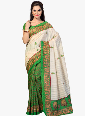 Green and White Color Bhagalpuri Silk Saree - RT-BGP034
