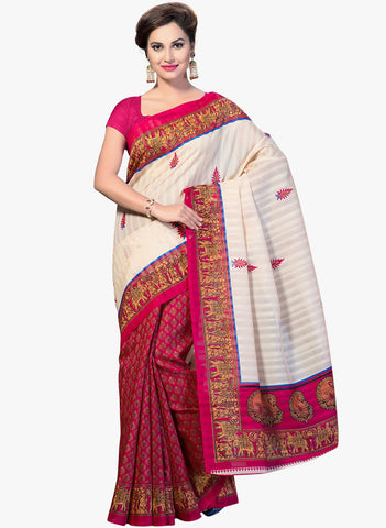 Pink and White Color Bhagalpuri Silk Saree - RT-BGP035