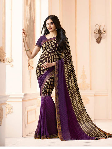 Purple Color Major Georgette Saree - RT-VP002