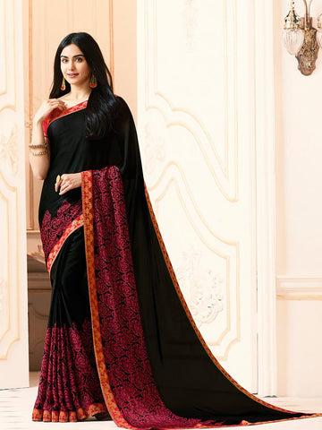 Black Color White Rangoli Saree - RT-VP008