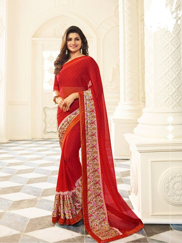 Red Color White Rangoli Saree - RT-VP021