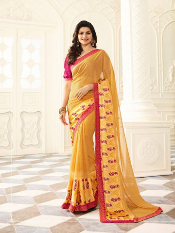 Yellow Color White Rangoli Saree - RT-VP022