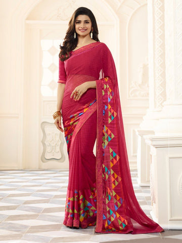 Pink Color White Rangoli Saree - RT-VP023