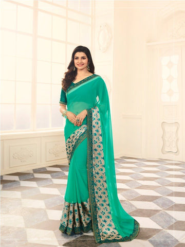 Green Color White Rangoli Saree - RT-VP024