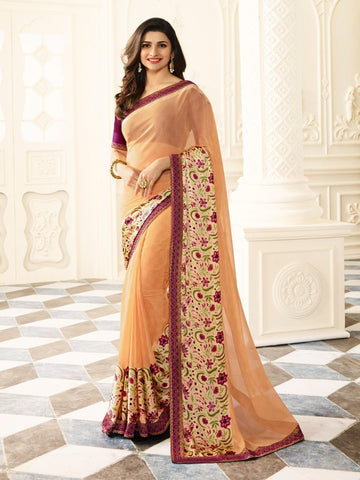 Mutli Color White Rangoli Saree - RT-VP025