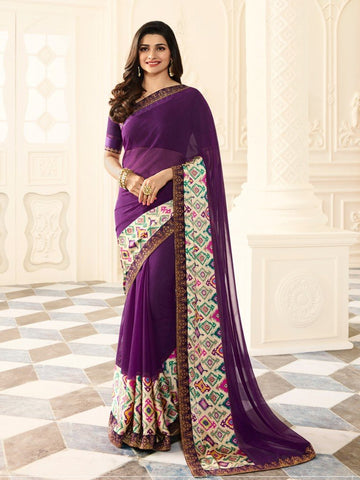 Purple Color White Rangoli Saree - RT-VP026