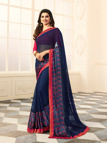 Blue Color White Rangoli Saree - RT-VP027