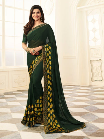 Green Color White Rangoli Saree - RT-VP028