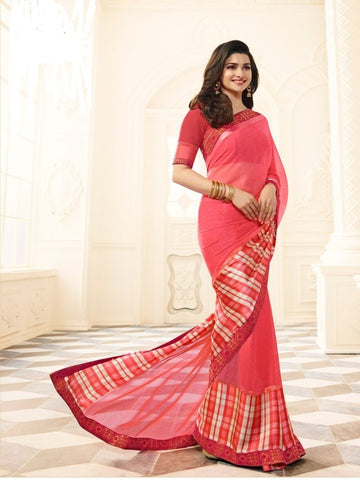 Pink Color White Rangoli Saree - RT-VP029