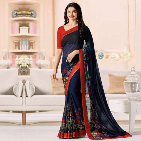 Blue Color Major Georgette Saree - RT-VP048