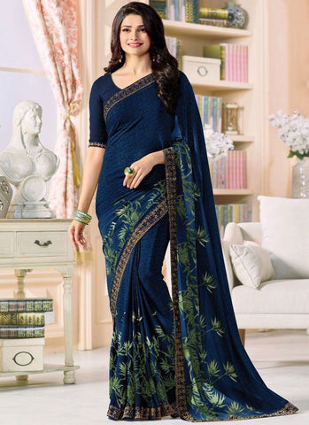 Blue Color Major Georgette Saree - RT-VP049