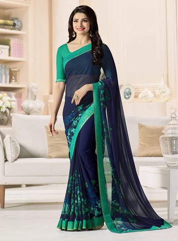 Blue Color Major Georgette Saree - RT-VP050