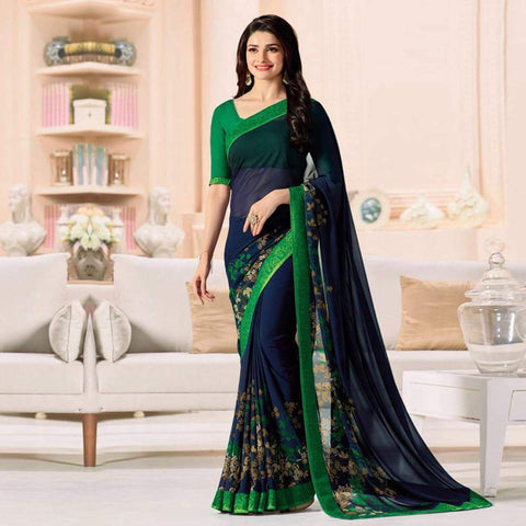 Blue Color Major Georgette Saree - RT-VP052