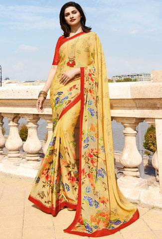 Yellow Color White Rangoli Saree - RT-VP053