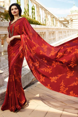 Red Color White Rangoli Saree - RT-VP054
