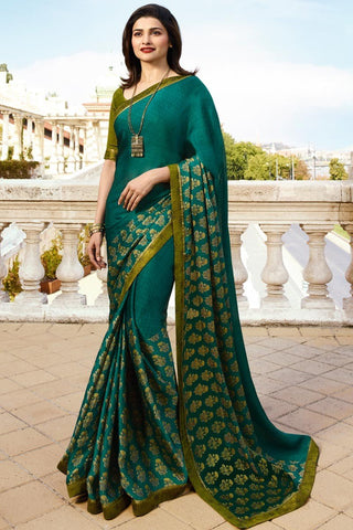 Green Color White Rangoli Saree - RT-VP055