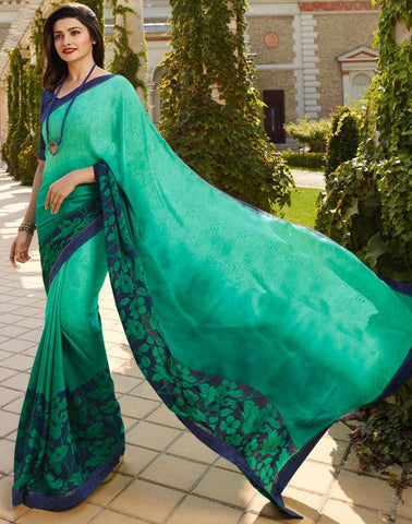Green Color White Rangoli Saree - RT-VP057