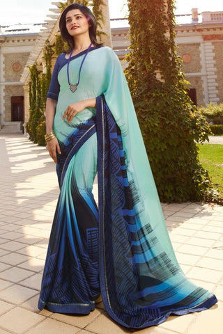 Blue Color White Rangoli Saree - RT-VP058