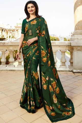 Green Color White Rangoli Saree - RT-VP059