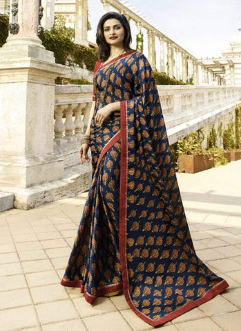 Blue Color White Rangoli Saree - RT-VP060