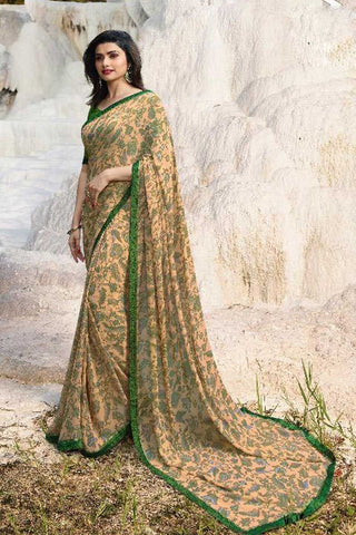 Beige Color Major Georgette Saree - RT-VP062