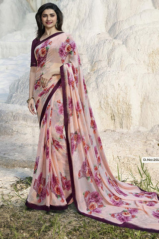 Beige Color Major Georgette Saree - RT-VP063