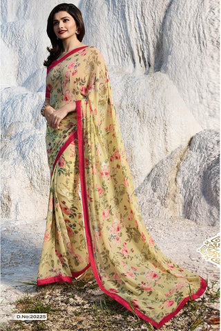 Lemon Color Major Georgette Saree - RT-VP065