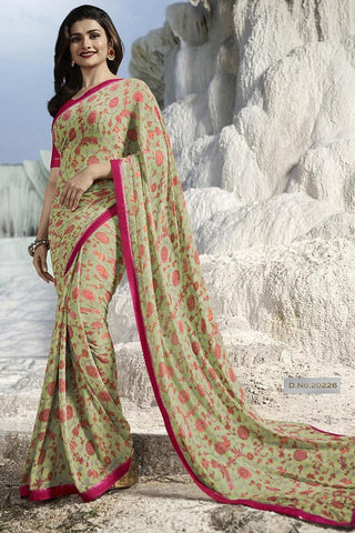 Green Color Major Georgette Saree - RT-VP066