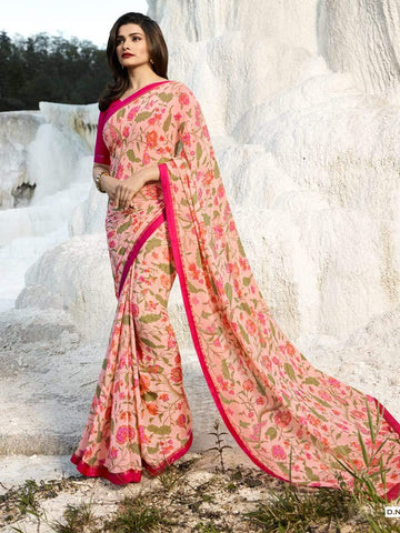 Pink Color Major Georgette Saree - RT-VP067