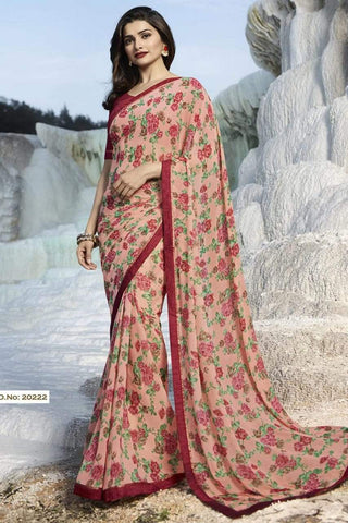 Cream Color Major Georgette Saree - RT-VP068
