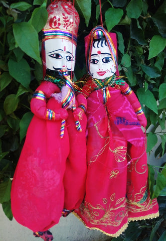 Pink Color Cotton Rajastani Puppets - RTHK-2