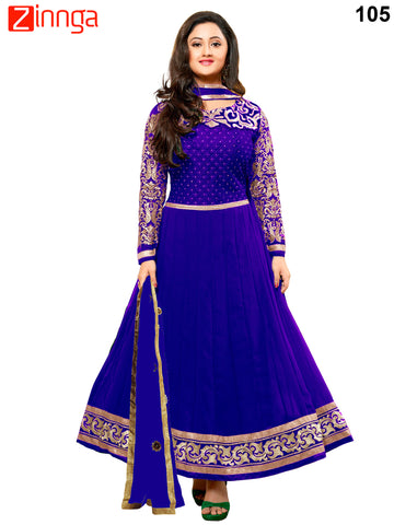 Blue Color Faux Georgette Unstitched Anarkali Suit - 105