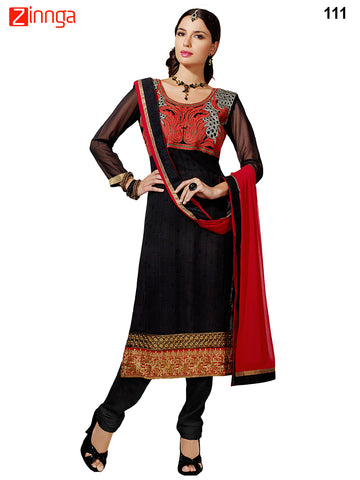 Black Color Georgette Dress Material - 111