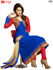 Blue Color Georgette Dress Material - 113