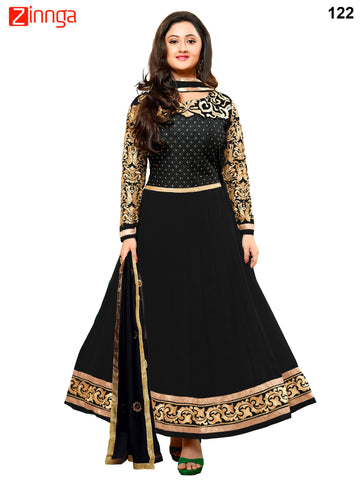 Black Color Faux Georgette Dress Material - 122
