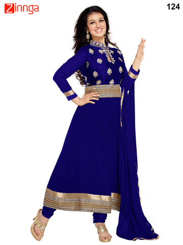 Blue Color Faux Georgette Dress Material - 124