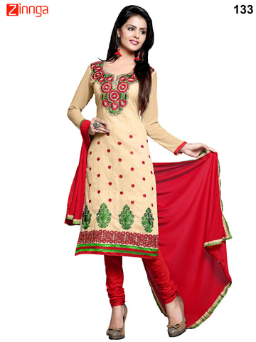Beige and Red Color Cotton Lawn Unstitched Dress Material - 133