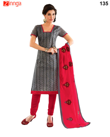 Black Color Chanderi  Dress Material - 135