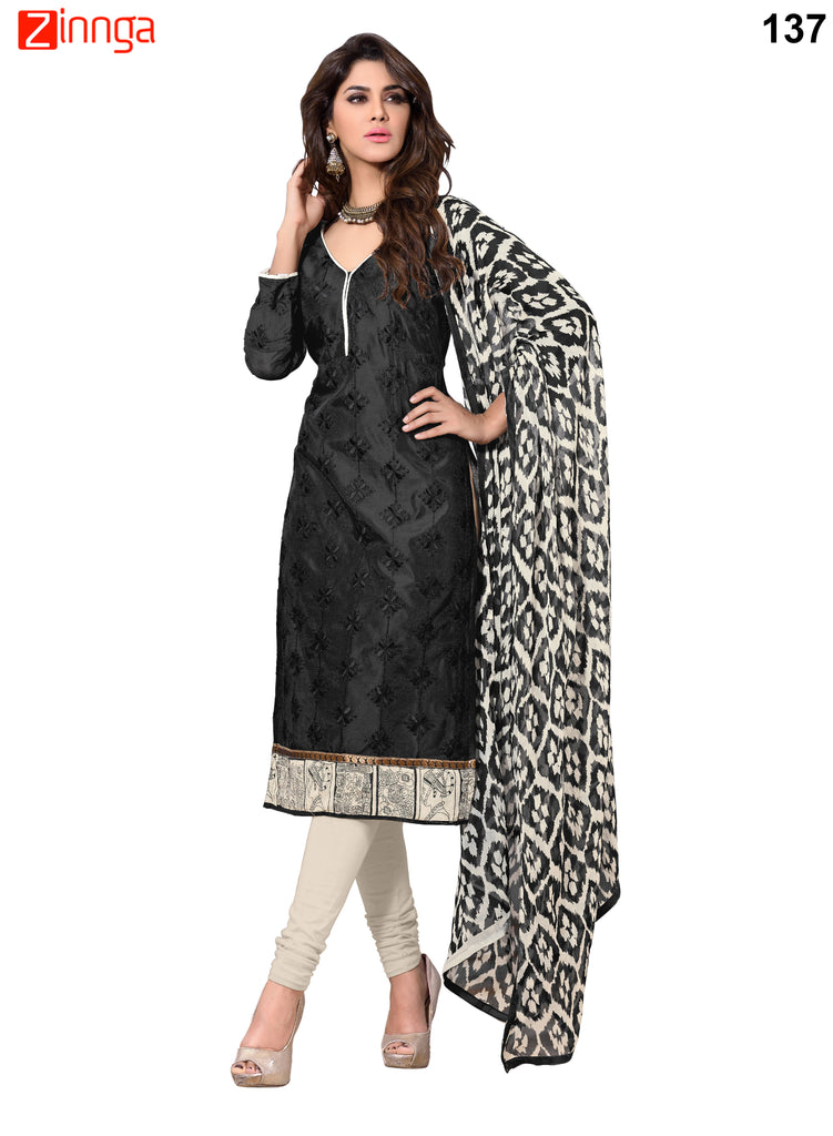 Black Color Chanderi Unstitched Dress Material - 137