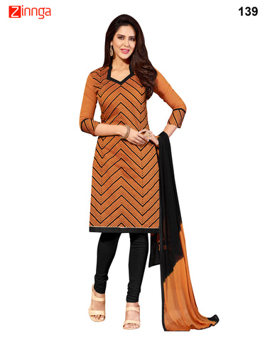 Brown Color Chanderi Jackard Unstitched Dress Material - 139
