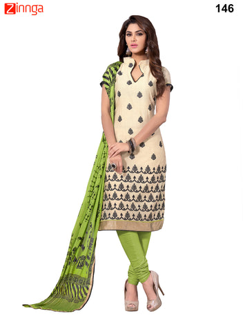 Beige Color Chanderi Unstitched Dress Material - 146